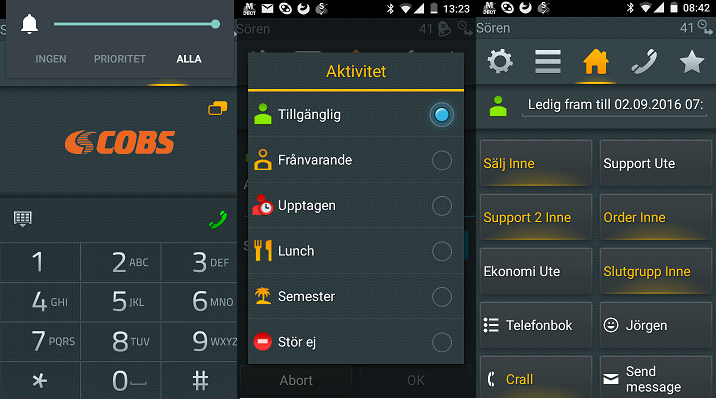 myPBX Android app running in the SMART1